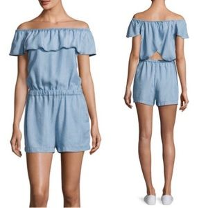 Splendid chambray off the shoulder romper
